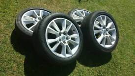 """Vauxhall 17"""" 5stud alloy wheels with tires"""