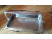 Chafing dishes with clear Roll top, tables and chairs for hire
