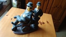 Laurel & Hardy on a cannon statuette