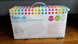 Koo-di pop up travel bubble cot inflatable matress and fitted sheet set. BRAND NEW.