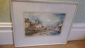 watercolour painting of North shields fishquay