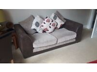 Two 2 Seater Fabric Sofas - under 12 months old - Brown Suede and Beige. To be sold as a pair.