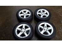 set of four genuine mercedes slk 200 kompressor alloy wheels and good tyres