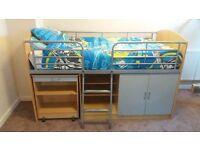 Beech & Silver Mid Sleeper Cabin Bed with Desk, Cupboard & Shelving
