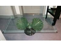 Beautiful Glass Topped, Iron (or Bronze) and Marble Based Clam Shell Art Deco Table