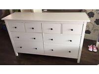 Ikea Hemnes white 8 drawer solid unit