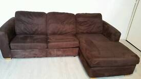 Dfs Brown Faux Suede Corner Sofa Bed 001
