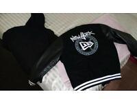 NYC New Era Leather Sleeve Coat