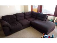 L shaped chocolate brown sofa