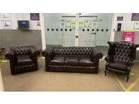 Stunning 3 piece leather chesterfield sofa suite 3 seater wing back and club chair £1100