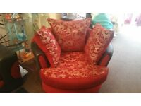 FABRIC JUMBO SWIVEL CHAIR COMFY SOFA