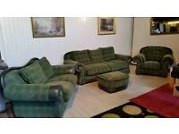 Large Green Tartan and Leather Suite 001