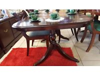 vintage Dining Table with Casters + 4 Chairs