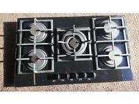 5 Burner Black glass gas hob with wok stand