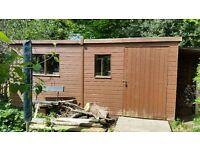 Garden Shed 4.9m (L) x 2.4m (W) In good condition 2 doors wide access RHS door & end door, 2 windows