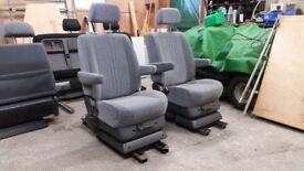 2 x Swivel Captain Seat VW T4 T5 Transit Camper Van. MotorhomeTwin armrest 180 Turn Table Bed