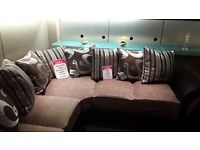 BEAUTIFUL BROWN/GOLD SCATTER BACK CORNER SOFA DELIVERY AVAILABLE