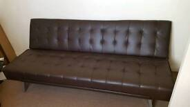 Leather effect clic brown sofa bed Free to collect
