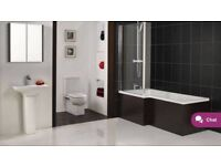 Victoria plumb, reversible Boston L shape bath panel dark brown, 1700mm wenge