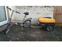 "bicycle folding with 'transporter"" luggage trailer"