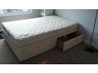 queen size bed with matress and 4 drawers underneath good condition. Collection only BARGAIN for £40