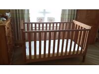 Mothercare beech cotbed complye with waterproof mattress for sale