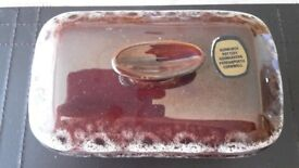 Vintage Kernewek Pottery Honeycomb Brown Glaze Butterdish