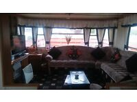 Willerby 37x12 Static Caravan, Central Heating, Decking, Shed with white goods, scenic location