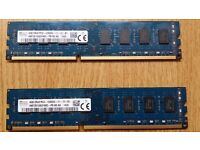 HYNIX 4 GB X 2 = 8 GB TOTAL - PC3 12800 DDR 3 1600 MHZ RAM