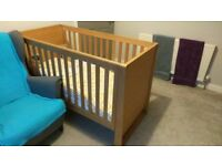 Mamas and papas solid wood cotbed w mattress