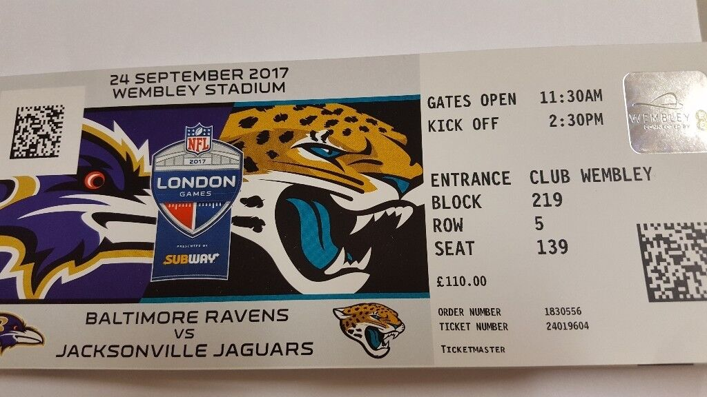 2x NFL tickets for tomorrow Wembley Baltimore v Jacksonville