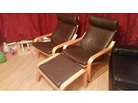 Ikea Dark Brown leather Poangs(2) and matching foot stool
