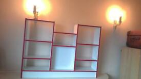 White with Red Trim Display cabinet / Shelving with Red Trim