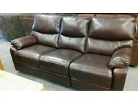 Brown real leather electric reclining 3 seater sofa
