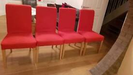 Four ikea Henriksdal chairs with removal red covers for
