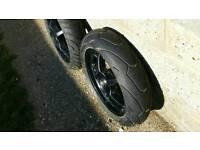 Yamaha aerox 50cc moped wheels black