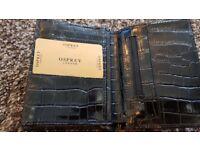 NEW Osprey Black Leather Wallet Crocs effect Unisex