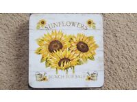 6 x SAVOIR VIVRE SUNFLOWER COASTERS - BRAND NEW IN PACKAGING
