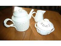 reproduction creamware teaset - teapot, sugar bowl, milk jug