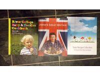 3 recipe books, Jamie Oliver, River cottage, taste