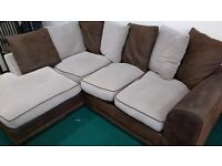 Brown and beige corner sofa - FREE DELIVERY