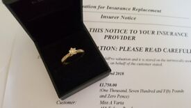 18ct Gold Diamond Ring + Valuation Certificate