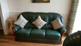 Green 100% leather hyde 6 seater suite