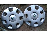 "2 x Genuine skoda fabia octavia 14"" wheel trim hub covers"