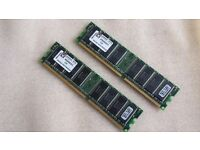 (2×) Kingston RAM/Memory - 1GB