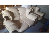 Large sofa settee white leather wooden frame effect