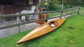 Vintage antique hand made wooden kayak