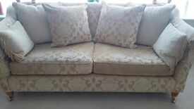 Beautiful bespoke two seater and three seater settee with matching pouffe