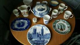 Selection of collectable pottery,picture plates,cups,jug