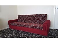 Large Settee. 2 Metres Long. Red. Floral